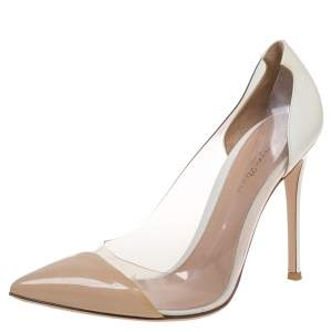 Gianvito Rossi Beige/White Patent Leather and PVC Plexi Pointed Toe Pumps Size 40