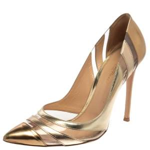 Gianvito Rossi Gold Leather PVC Slip On Pointed Toe Pumps Size 40
