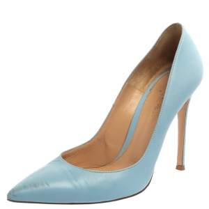 Gianvito Rossi Blue Leather Pointed Toe Pumps Size 40