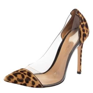 Gianvito Rossi Brown/Beige Leopard Print Pony Hair And  PVC  Pumps Size 37.5
