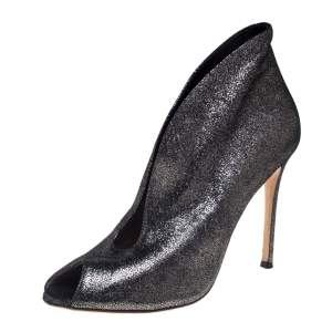 Gianvito Rossi Metallic Silver Foil Suede Vamp Peep Toe Booties Size 39.5