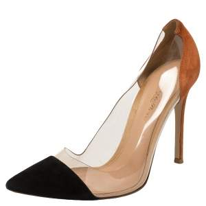 Gianvito Rossi Black Suede And PVC Plexi Pumps Size 37.5
