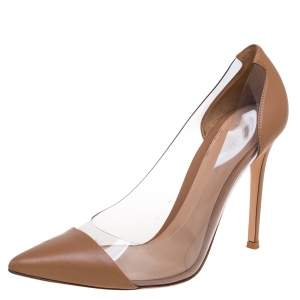 Gianvito Rossi Beige Leather And PVC Plexi Pointed Toe Pumps Size 40