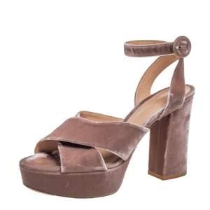 Gianvito Rossi Beige Velvet Roxy Platform Ankle Strap Sandals Size 39