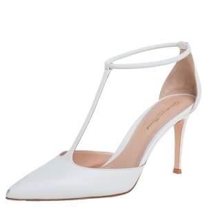 Gianvito Rossi White Leather Cheryl 85 Sandals Size 38