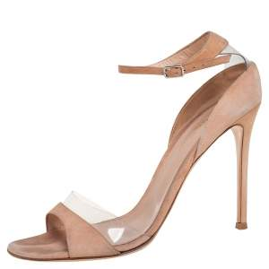 Gianvito Rossi Beige Suede And PVC Ankle Strap Sandals Size 40.5