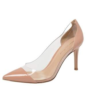 Gianvito Rossi Blush Pink Patent Leather And PVC Plexi Pointed Toe Pumps Size 36.5