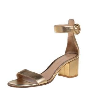 Gianvito Rossi Gold Leather Portofino Block Heel Sandals Size 37