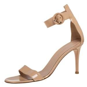 Gianvito Rossi Beige Patent Leather Portofino Ankle Strap Sandals Size 37
