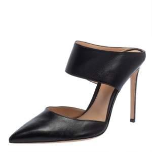Gianvito Rossi Black Leather Mule Sandals Size 42