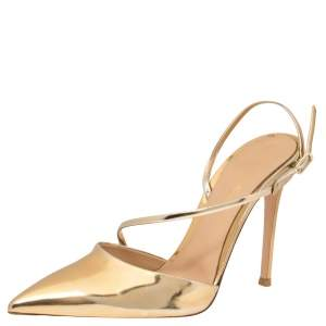Gianvito Rossi Gold Mirror Leather Manhattan Pointed Toe Pumps Size 40
