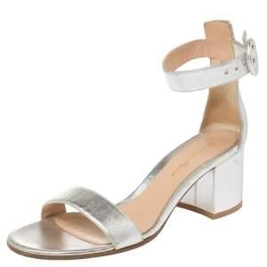 Gianvito Rossi Metallic Silver Leather Portofino Sandals Size 37