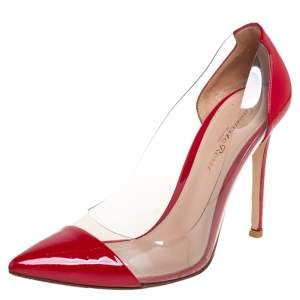 Gianvito Rossi Red Patent Leather and PVC Plexi Pumps Size 37.5