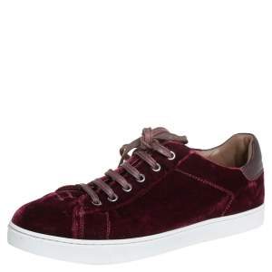 Gianvito Rossi Burgundy Velvet Low Top  Sneakers Size 39