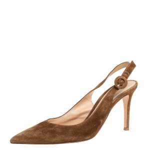 Gianvito Rossi Brown Suede Slingback Pumps Size 37.5