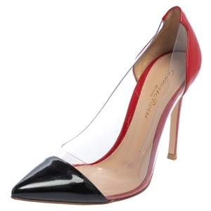 Gianvito Rossi Black/Red Patent Leather And PVC Plexi Pointed Toe Pumps Size 36