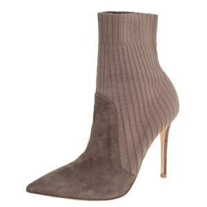 Gianvito Rossi Grey Knit Fabric And Suede Katie Ankle Boots Size 39