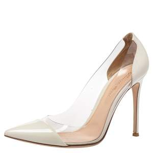 Gianvito Rossi White Patent Leather And PVC Plexi Pointed Toe Pumps Size 40