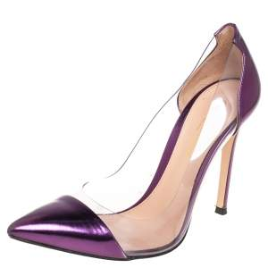 Gianvito Rossi Purple Leather And PVC Plexi Pointed Toe Pumps Size 38