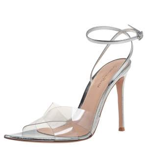 Gianvito Rossi Metallic Silver Leather And PVC Natalie Ankle Strap Sandals Size 39