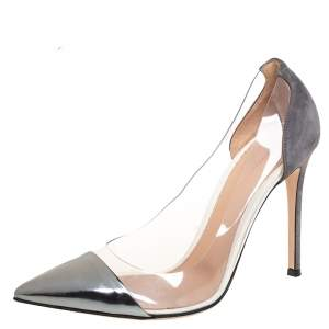 Gianvito Rossi Silver/Grey PVC And Leather Pointed Toe Pumps Size 39