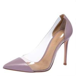 Gianvito Rossi Lavender Leather And PVC Plexi Pointed Toe Pumps Size 38