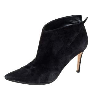 Gianvito Rossi Black Suede Kat Mid Booties Size 40.5