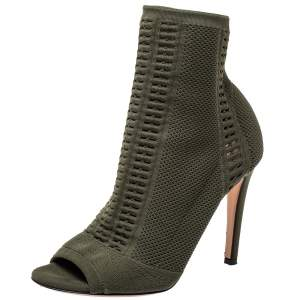 Gianvito Rossi Green Perforated Knit Fabric Ankle Boots Size 37.5