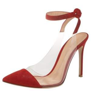Gianvito Rossi Red Suede and PVC Anise Ankle Strap Sandals Size 38.5