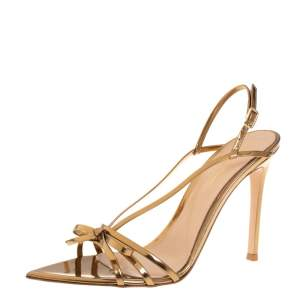 Gianvito Rossi Gold Patent Leather Bow Slingback Sandals Size 38.5