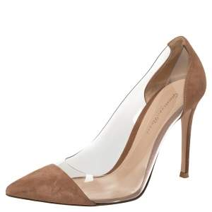 Gianvito Rossi Brown Suede and PVC Plexi Pointed Toe Pumps Size 37.5