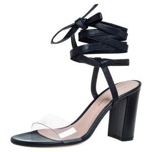 Gianvito Rossi Black Leather And PVC Plexi Transparent Sandals Size 35.5
