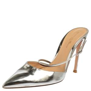 Gianvito Rossi Silver Leather Pointed Toe Mule Sandals Size 39