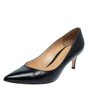 Gianvito Rossi Black Leather Pointed Toe Pumps Size 35.5