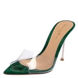 Gianvito Rossi Green PVC Elle Slide Sandals Size 36.5