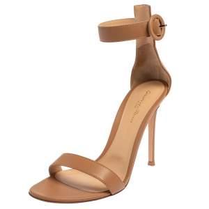 Gianvito Rossi Beige Leather Portofino Ankle Strap Sandals Size 40