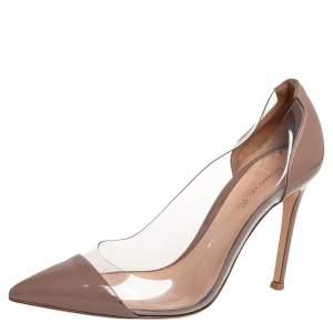 حذاء كعب عالى جيانفيتو روسى بليكسى بى فى سى وجلد لامع بيج مقاس 36.5