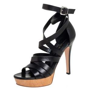 Gianvito Rossi Black Leather Strappy Platform Ankle Strap Sandals Size 37