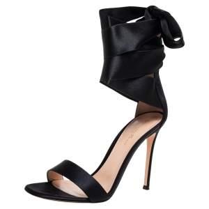 Gianvito Rossi Black Satin Gala Sandals Size 40