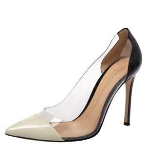 حذاء كعب عالي جيانفيتو روسي بليكسي بلاستيك مشمع و جلد لامع أسود مقاس 38.5
