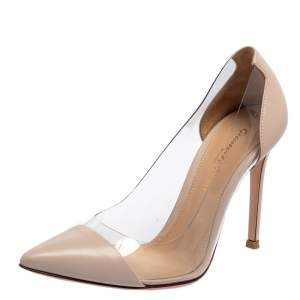 Gianvito Rossi Blush Pink Leather And PVC Plexi Pointed Toe Pumps Size 35