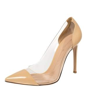 Gianvito Rossi Beige Patent Leather and PVC Plexi Pointed Toe Pumps Size 38