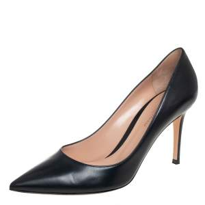 Gianvito Rossi Black Leather Pointed Toe Pumps Size 39.5