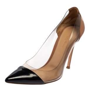Gianvito Rossi Black/Beige Patent Leather And PVC Plexi  Pumps Size 39.5