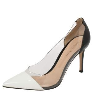 Gianvito Rossi White/Black Patent Leather And PVC Plexi Pointed Toe Pumps Size 38