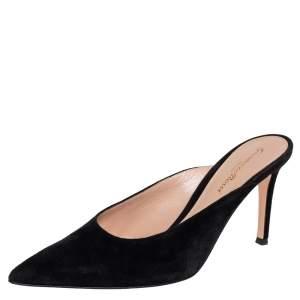 Gianvito Rossi Black Suede Mule Sandals Size 37.5
