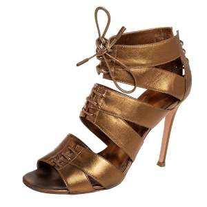 Gianvito Rossi Metallic Gold Leather Roxy Lace Up Caged Sandals Size 37.5