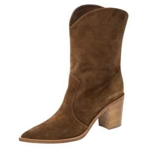 حذاء بوت جيانفيتو روسي دينفر سويدي بني لمنتصف الساق مقاس 41