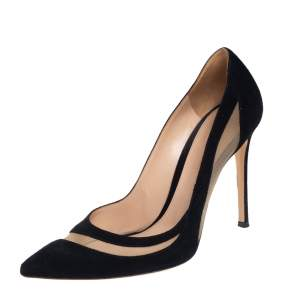 Gianvito Rossi Black Suede and Mesh Pointed Toe Pumps Size 39
