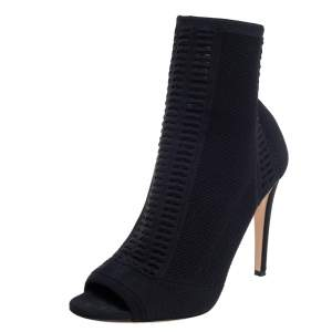 Gianvito Rossi Black Knit Fabric Open Toe Booties Size 42